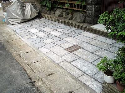 京都市 土間リフォーム工事 張り石ガレージ